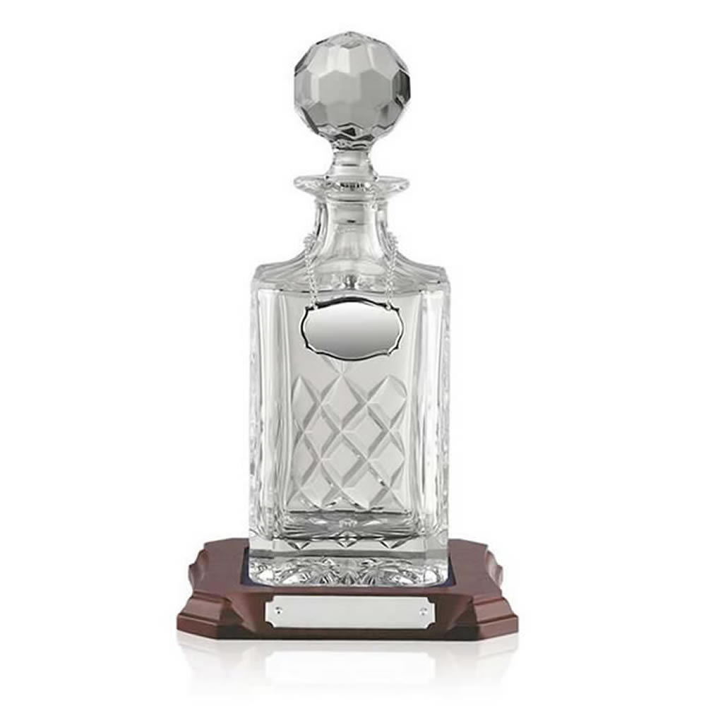 Three Quarter Litre Square Hand Cut Crystal Decanter