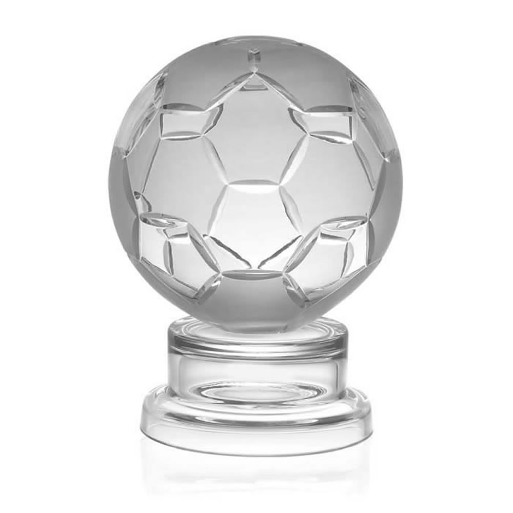 6 Inch Detailed Ball Football Hand Cut Crystal Award