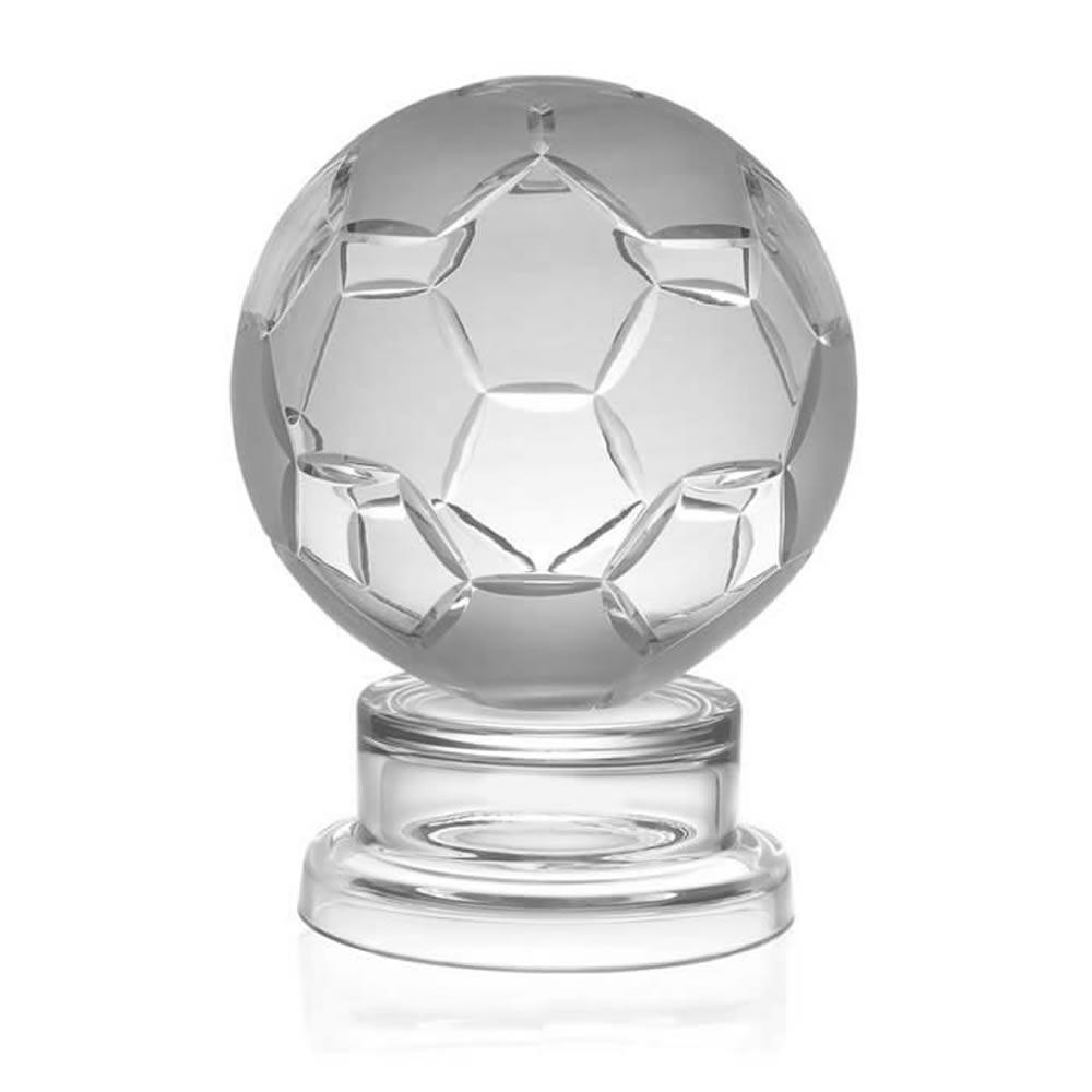 6 Inch Detailed Ball Football Hand Cut Crystal Award