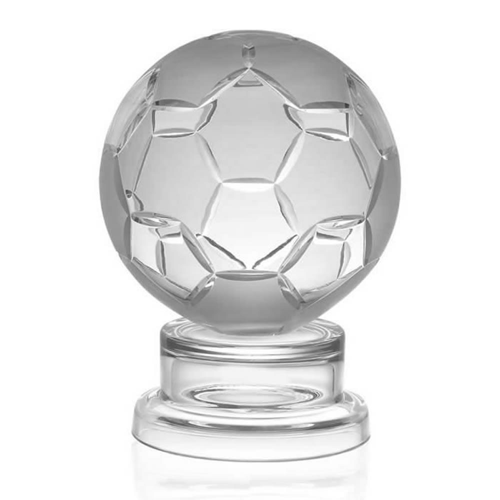 11 Inch Detailed Ball Football Hand Cut Crystal Award