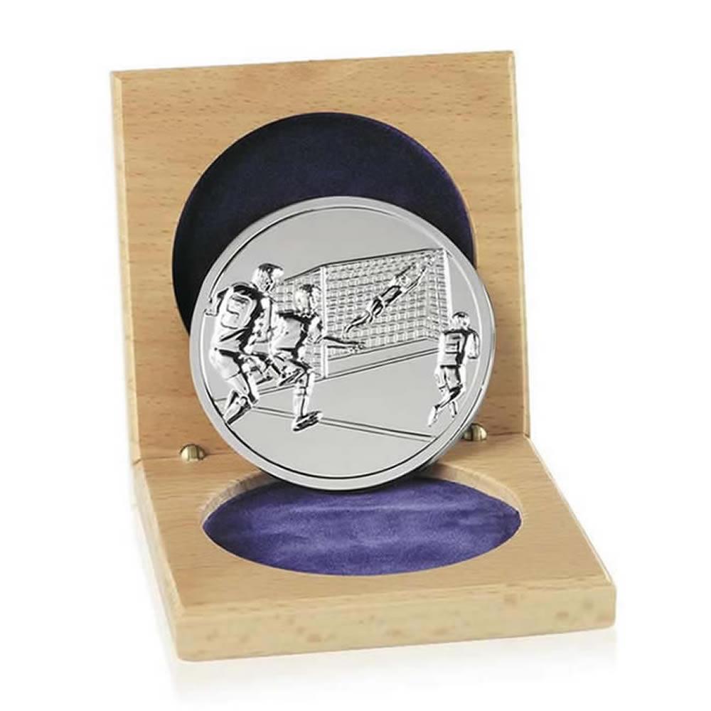 66mm Silver Finish Cased Football Emblem Medal
