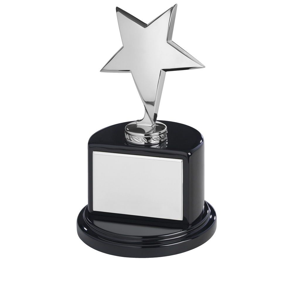 8 Inch Silver Finish In Black Piano Wood Base Timezone Star Award