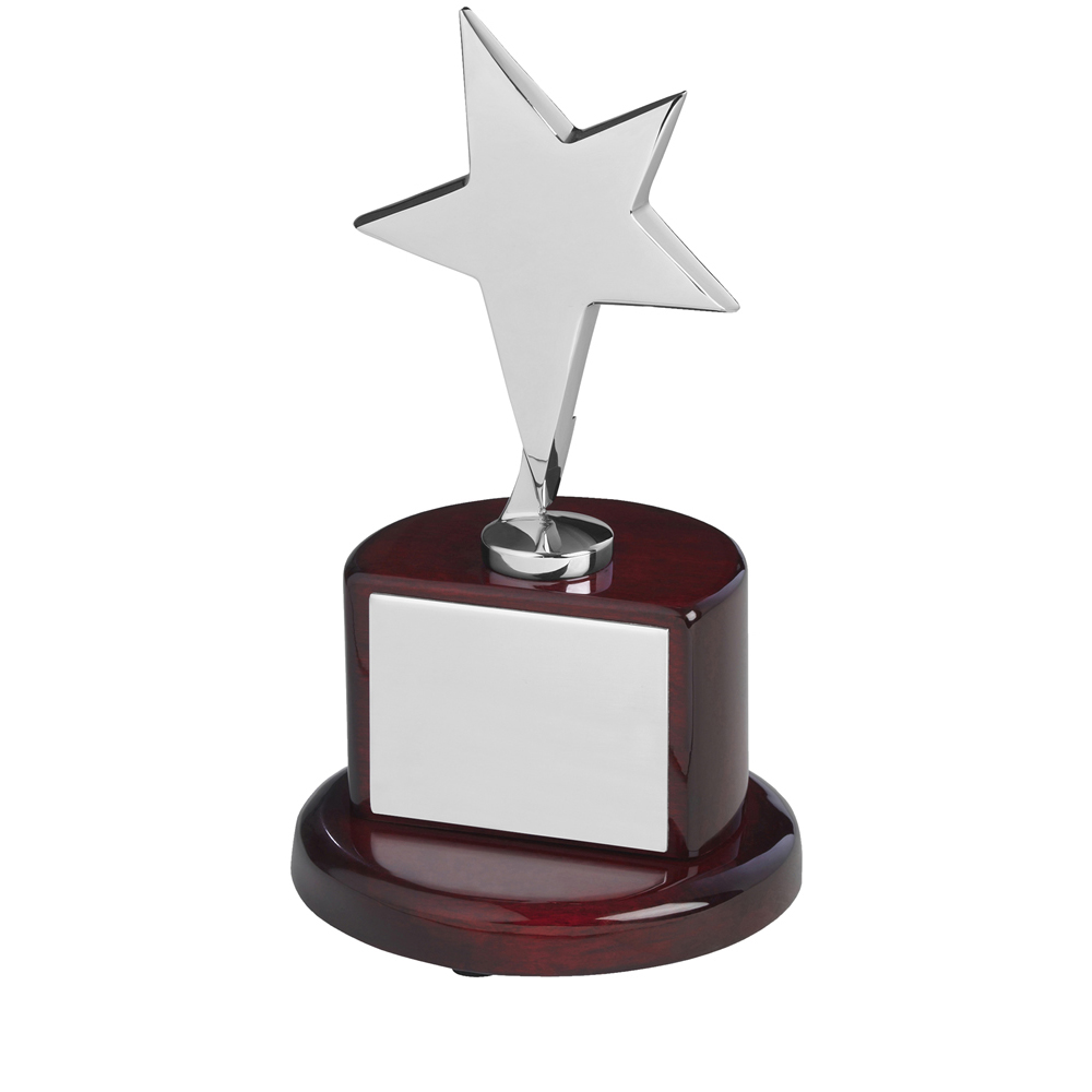 7 Inch Silver Finish In Brown Piano Wood Base Timezone Star Award