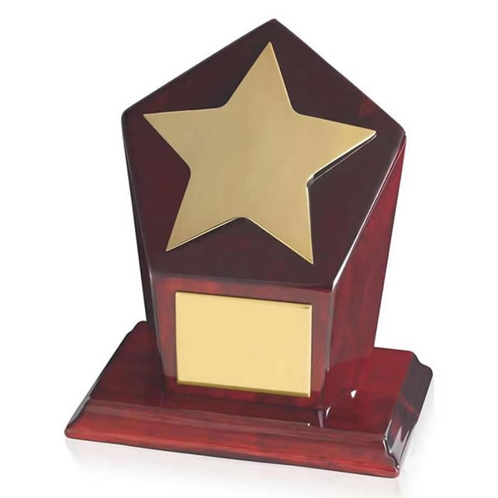6 Inch Bright Gold Finish & Piano Wood Base Timezone Star Award