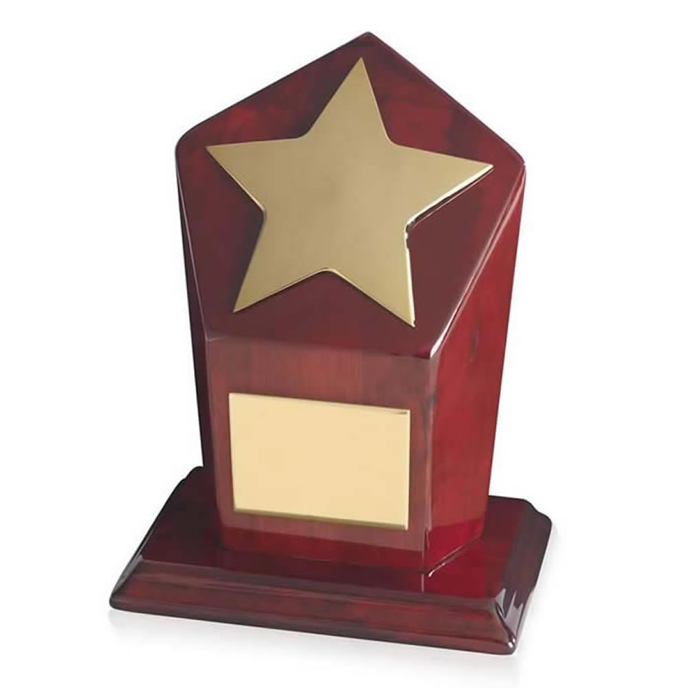 7 Inch Bright Gold Finish & Piano Wood Base Timezone Star Award