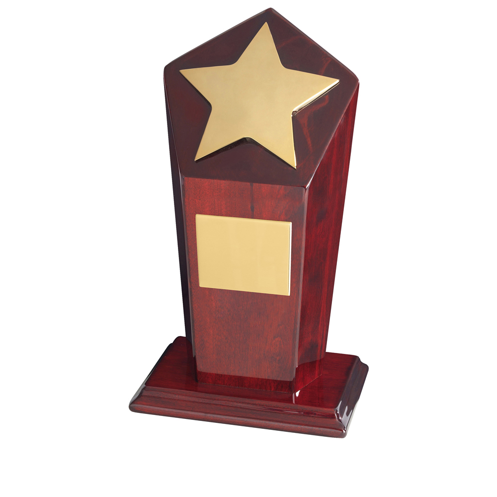 9 Inch Bright Gold Finish & Piano Wood Base Timezone Star Award