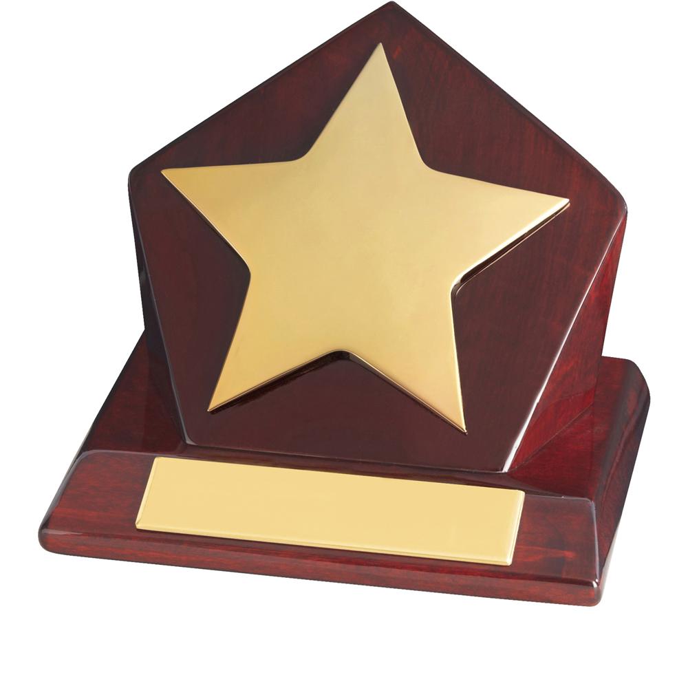 4 Inch Bright Gold Finish & Piano Wood Base Timezone Star Award