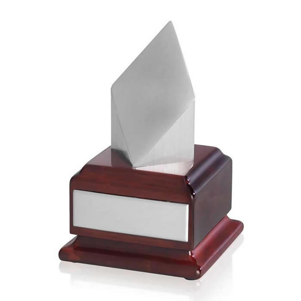 6 Inch Silver Finish Diamond Shaped Timezone Award