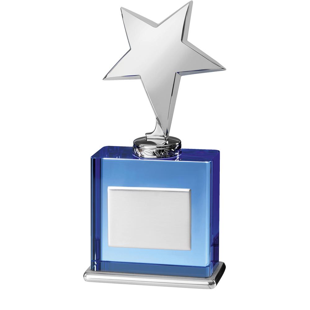 8 Inch Metal Star On Blue Timezone Award