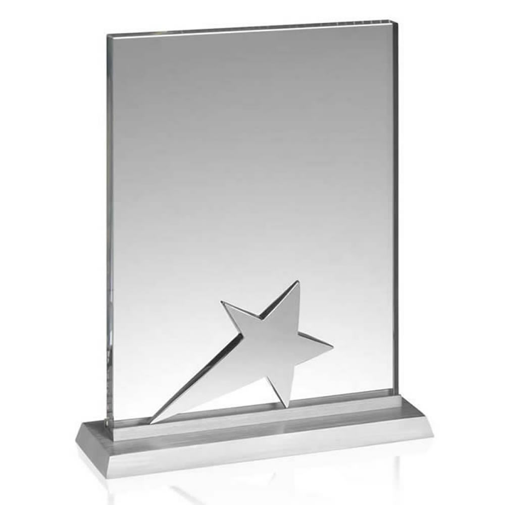 6 Inch Silver Star Crystal Plaque Achievement Award