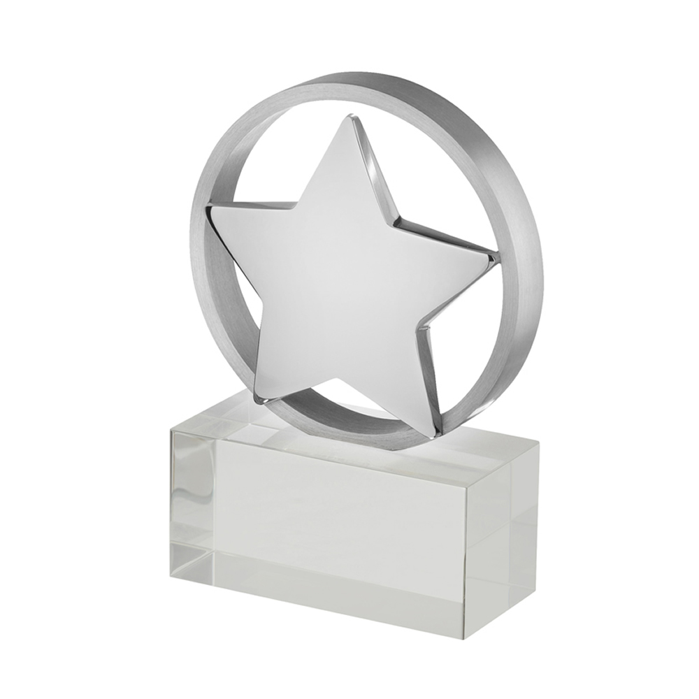 5 Inch Bordered Silver Star Timezone Award