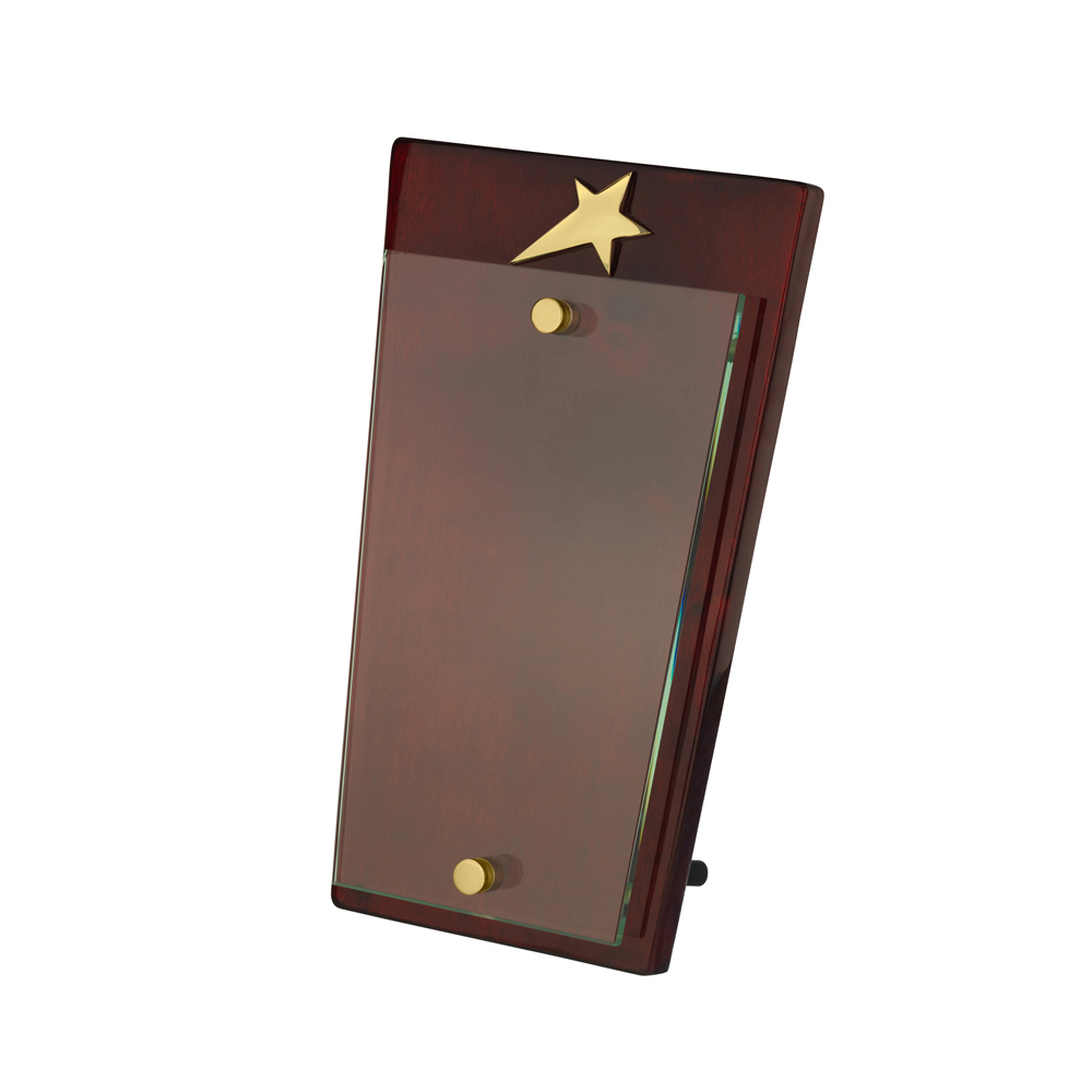 9 Inch Gold Star On Wooden Plaque Timezone Award