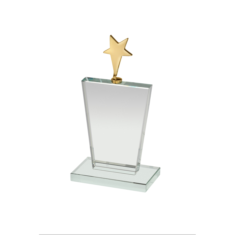 6 Inch Gold Star On Clear Timezone Award