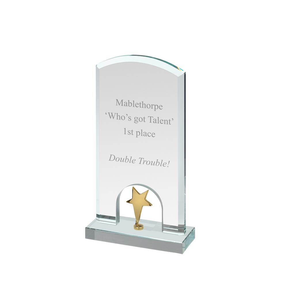 8 Inch Gold Star Under Arch Timezone Award