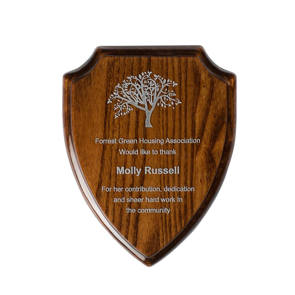 10 Inch Gloss Walnut Finish Timezone Shield Plaque