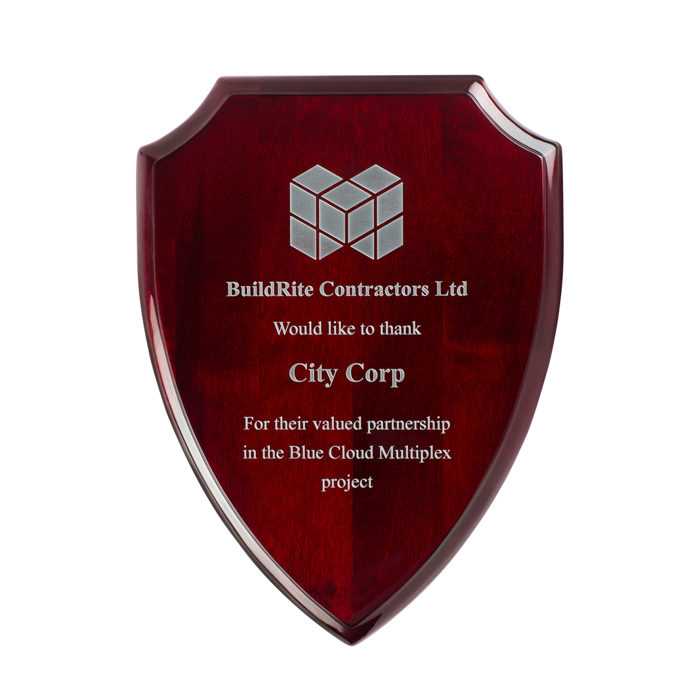 10 Inch High Gloss Rosewood Finish Timezone Shield Plaque