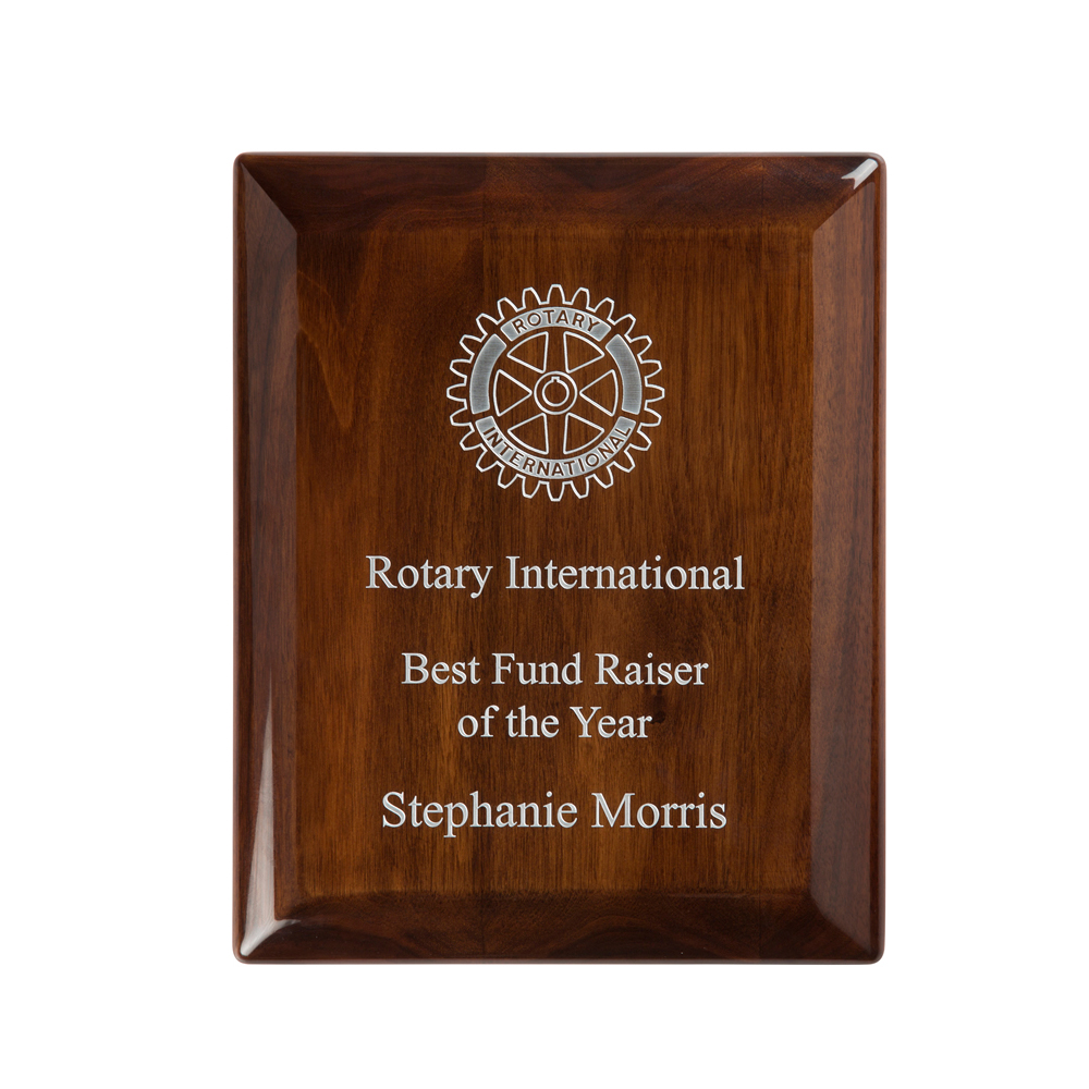 9 x 7 Inch High Gloss Walnut Finish Timezone Plaque