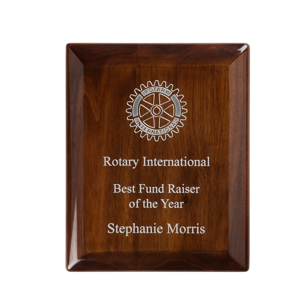 12 x 9 Inch High Gloss Walnut Finish Timezone Plaque