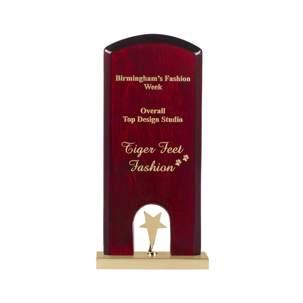 9 Inch Gold Star On High Gloss Wood & Metal Base Timezone Star Award