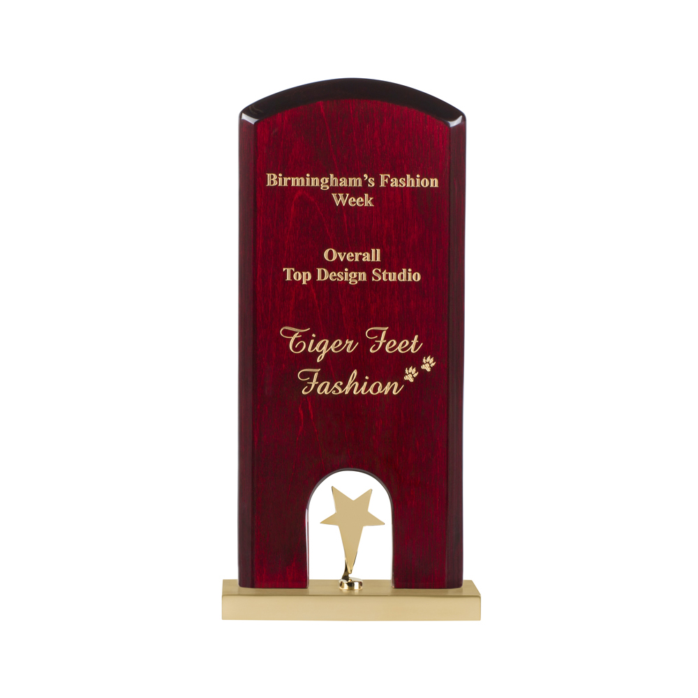 10 Inch Gold Star On High Gloss Wood & Metal Base Timezone Star Award