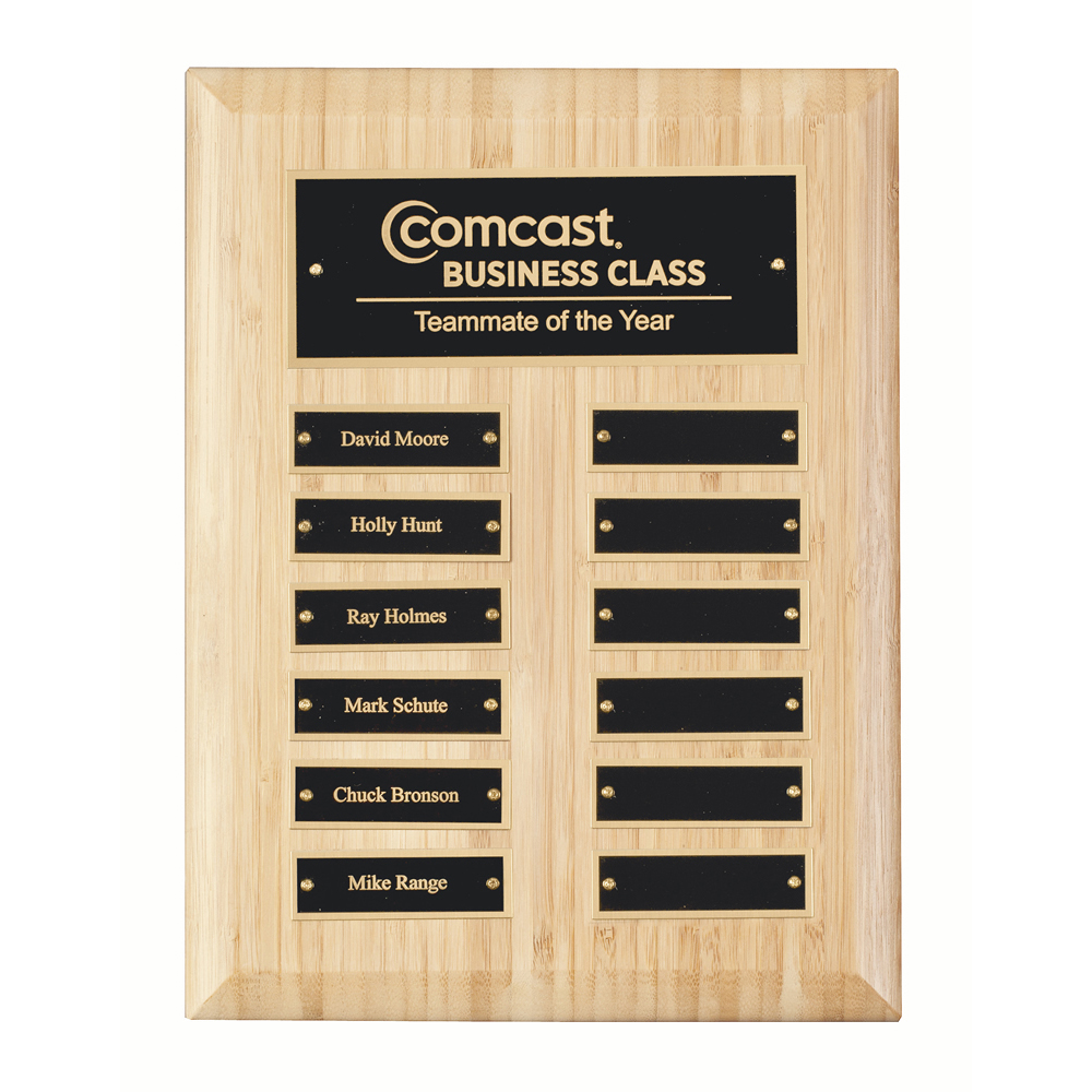 12 x 9 Inch Bamboo With 12 Brass Plates Victory Plaque