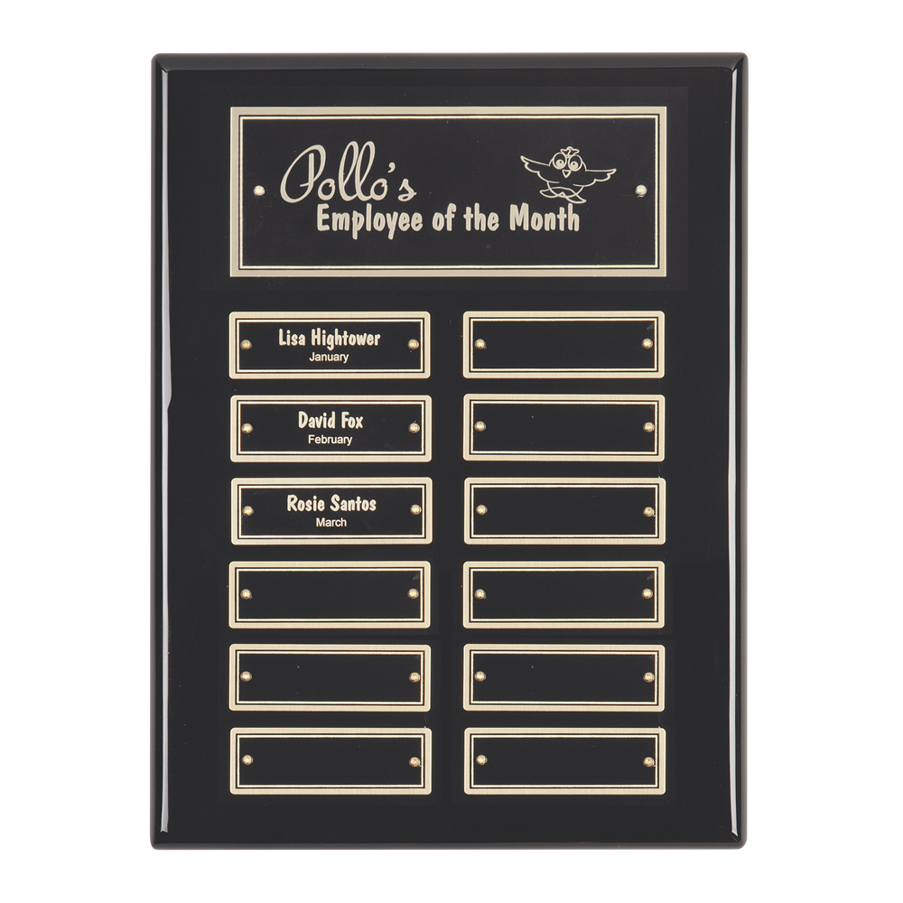 12 x 9 Inch Gloss Black With 12 Brass Plates Victory Plaque