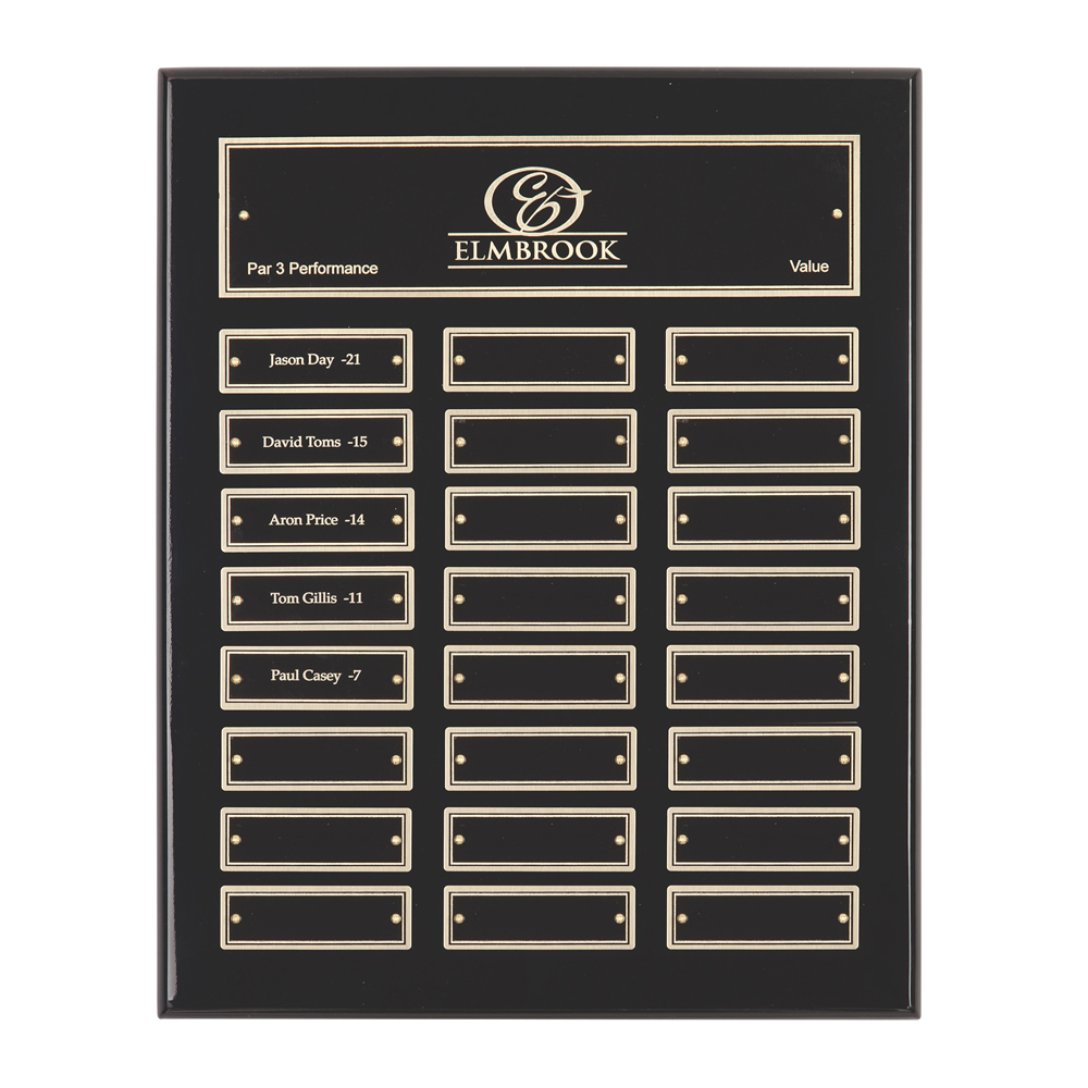 13 x 11 Inch Gloss Black With 24 Brass Plates Victory Plaque
