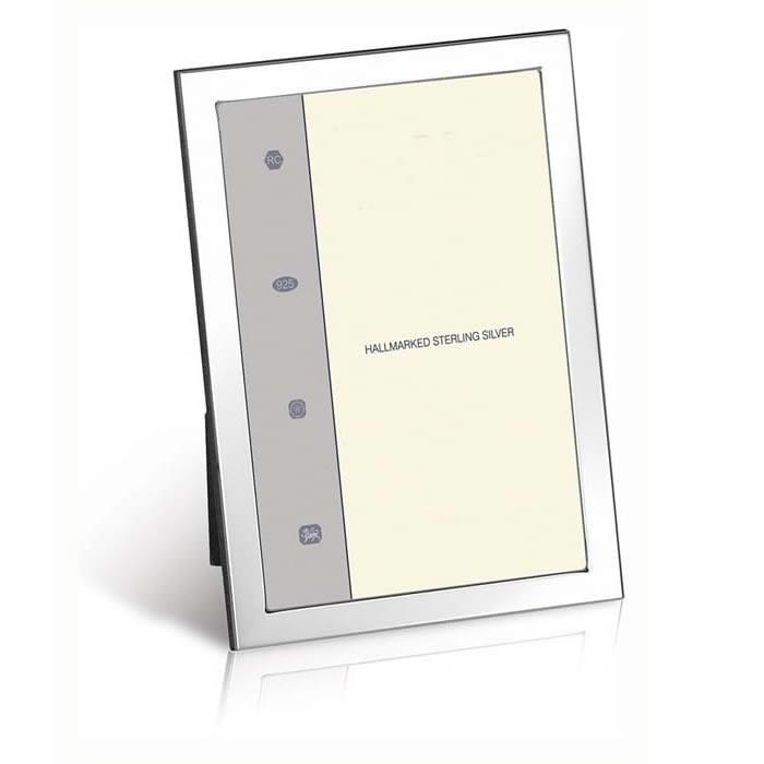Sterling Silver Flat Narrow 7x5 18x13cm Classic Photo Frame Wood Back