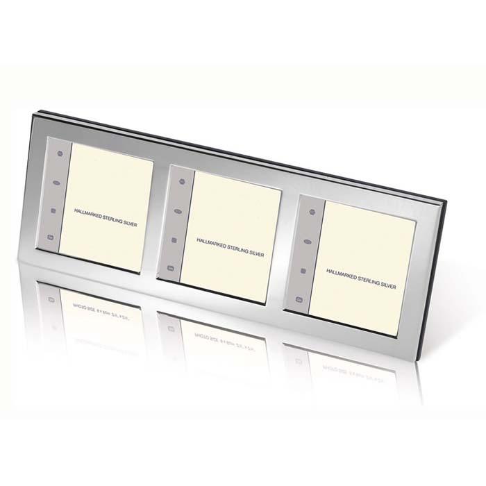 Silver 6x6 Triple Flat Photo Frame Wooden Back