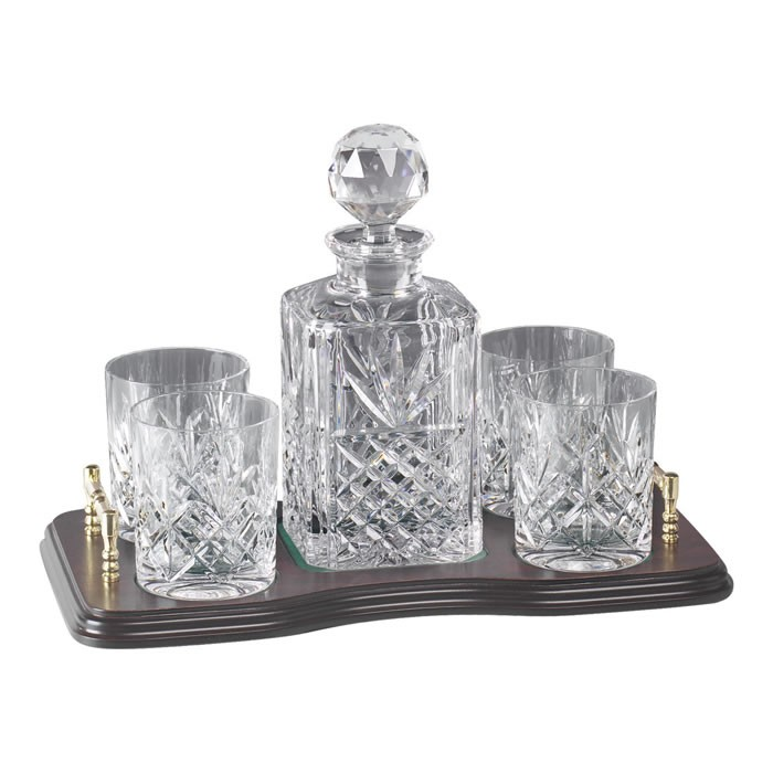 crystal and brass whisky decanter and 4 glass set. Black Bedroom Furniture Sets. Home Design Ideas