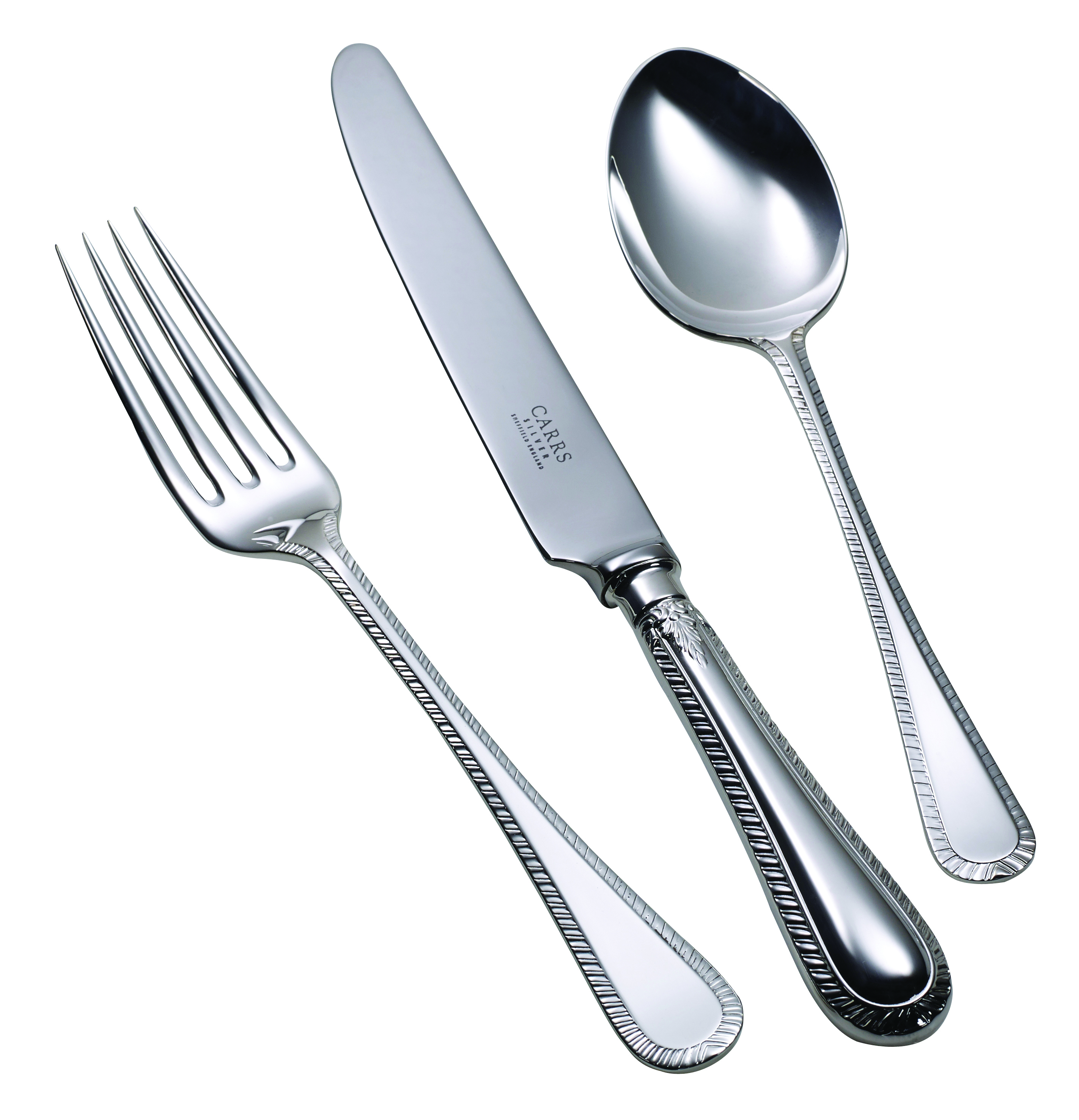 Children's Silver Plated Cutlery Set Feather Edge Handle