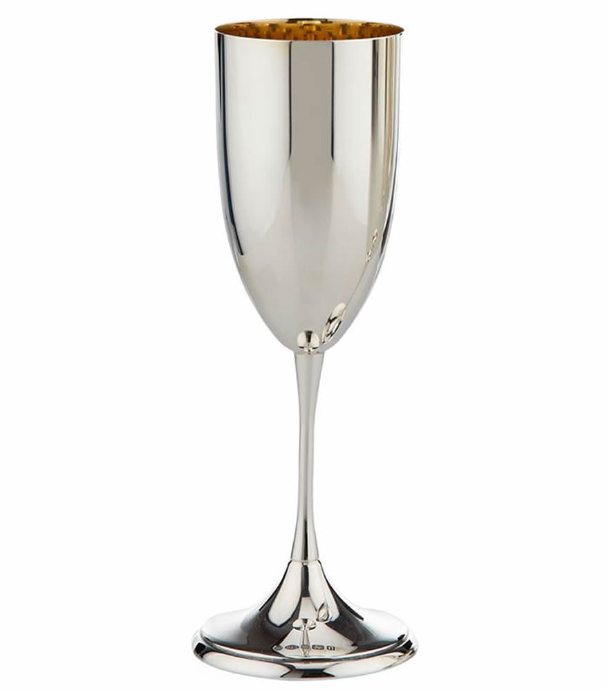 Personalised engraved champagne flutes glass silver crystal wedding cham - Petite flute a champagne ...