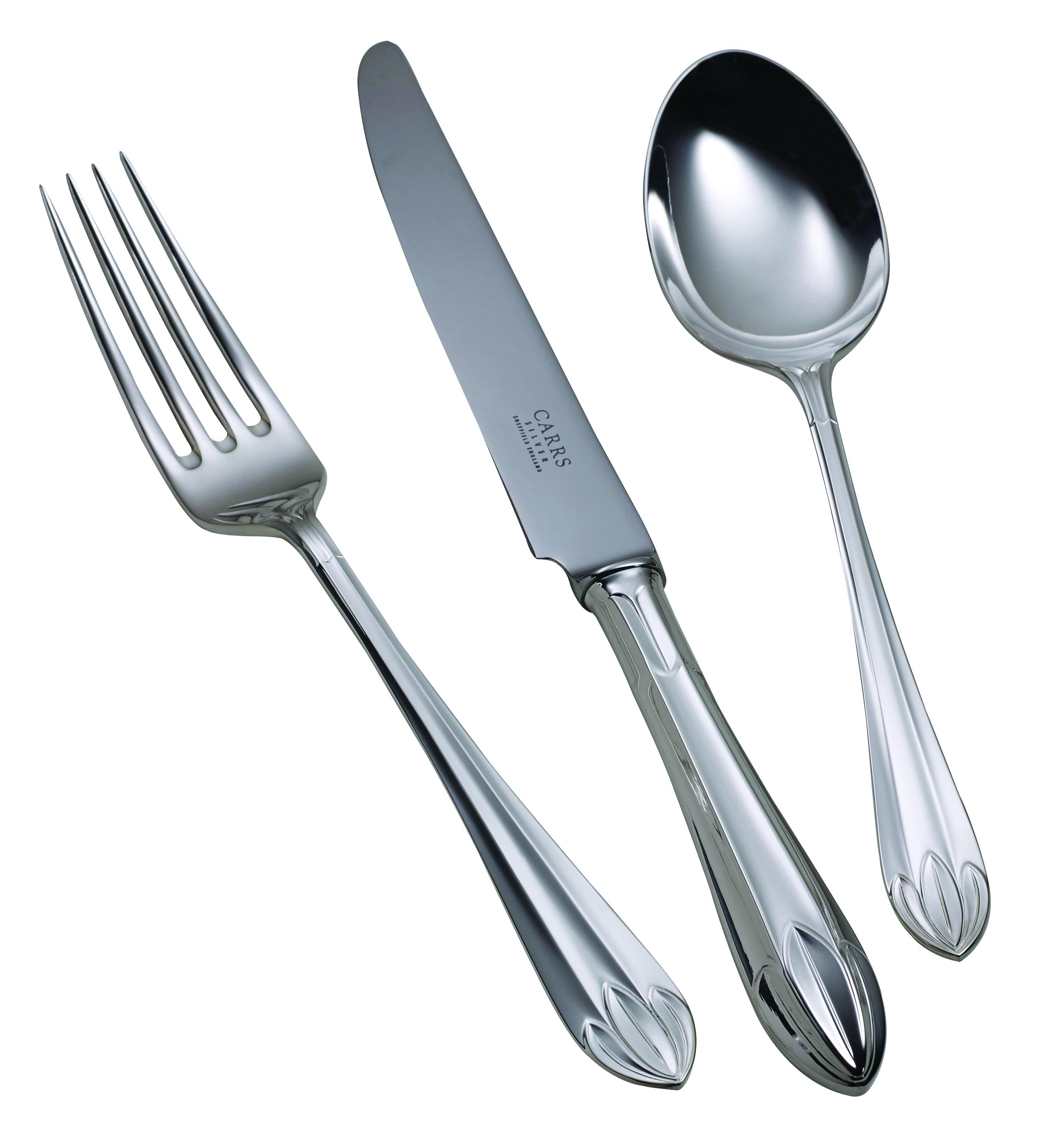 Children's Silver Cutlery Set Lotus Grip