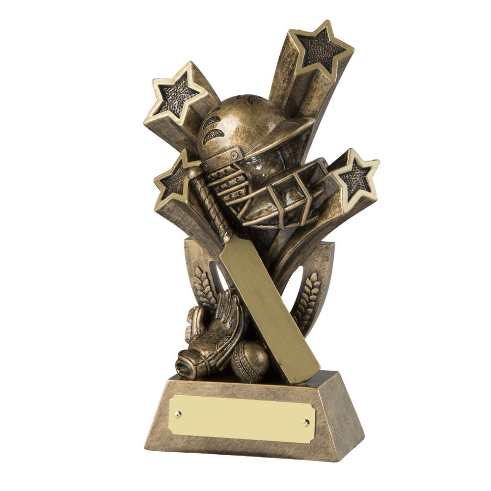 7 Inch Stars Bat & Ball Cricket Resin Award